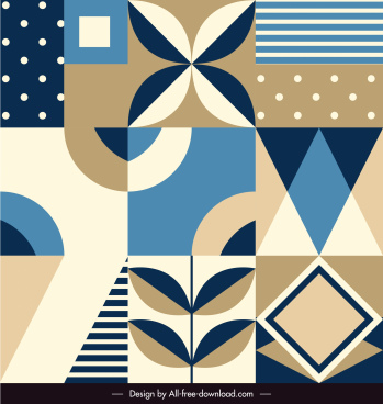 decorative pattern template colored flat classic shapes