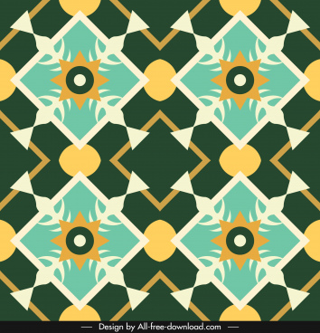 decorative pattern template colorful flat symmetric illusion