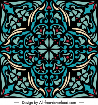 decorative pattern template colorful flat symmetric vintage shape