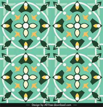 decorative pattern template colorful flat symmetrical repeating design