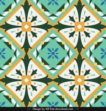 decorative pattern template colorful symmetric repeating illusion design