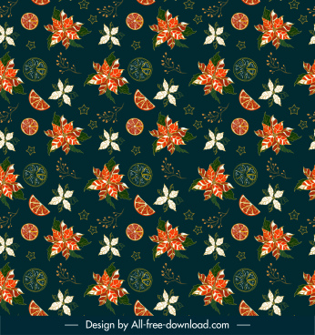decorative pattern template dark orange slices petals sketch