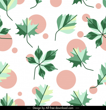 decorative pattern template flat green leaf circles decor