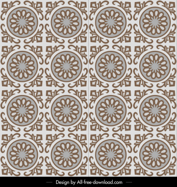 decorative pattern template flat symmetrical retro design
