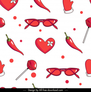 decorative pattern template red objects sketch