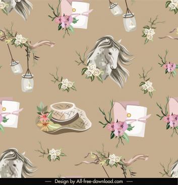 decorative pattern template repeating elegant floral symbols