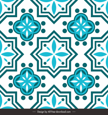 decorative pattern template retro flora sketch symmetric repeating