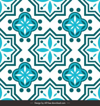 decorative pattern template retro flora sketch symmetric repeating
