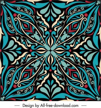decorative pattern template retro oriental symmetric shape