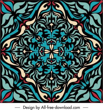 decorative pattern template retro symmetric floral shape
