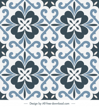decorative pattern template symmetrical repeating flat floral shapes