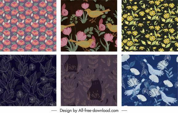decorative pattern templates classical botany animals decor