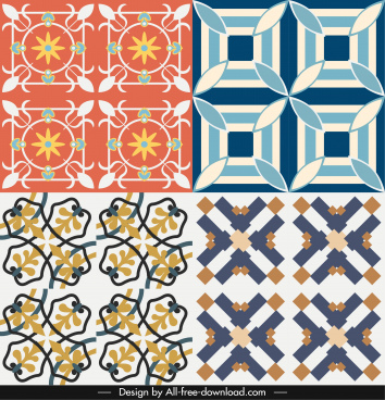 decorative pattern templates colored symmetrical classical design