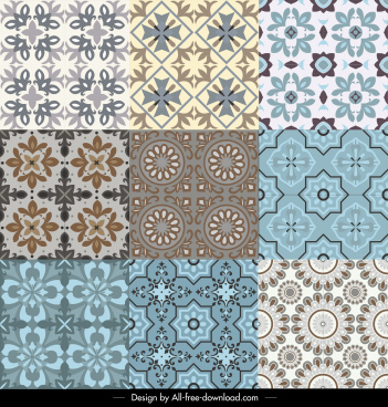 decorative pattern templates colored symmetrical classical petals