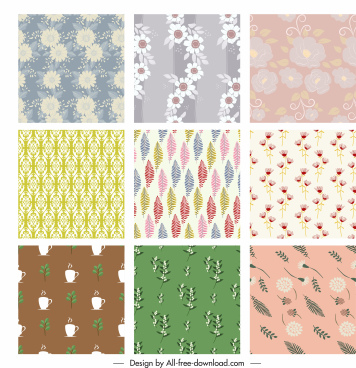 decorative pattern templates colorful classical flat design