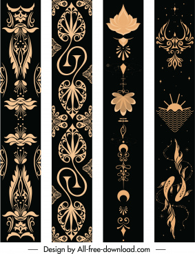 decorative pattern templates dark design retro cultural decor