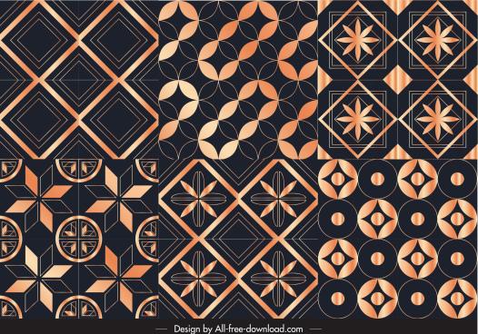 decorative pattern templates shiny symmetrical flora geometric shapes