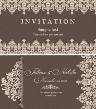Wedding invitation vector free vector download 2756 free vector decorative pattern wedding invitation cards vector set stopboris Choice Image