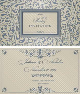 decorative pattern wedding invitation cards vector set