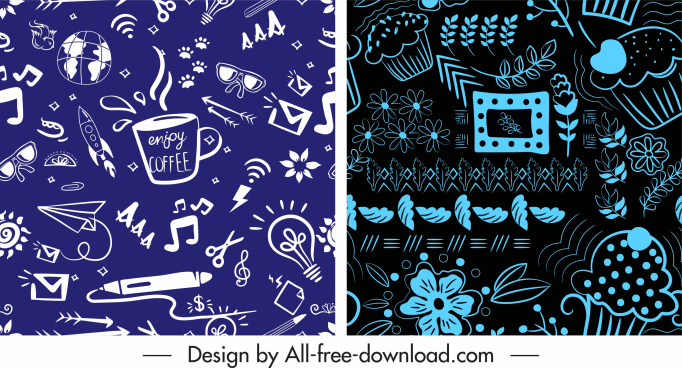 decorative patterns dark classic messy education nature themes