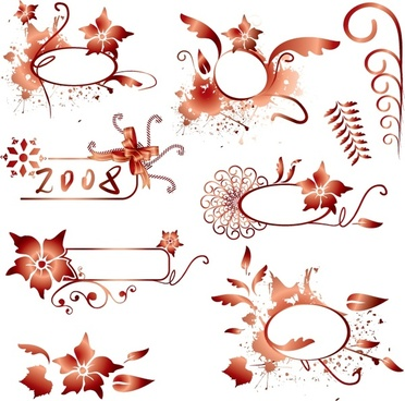 decorative design elements orange flower leaf curves shapes