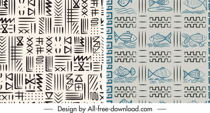 decorative patterns flat handdrawn fish abstract themes