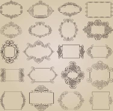 decorative frames templates retro symmetric seamless design