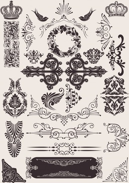 decorative elements elegant european imperial symbols