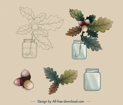 decorative plant design elements vase leaf chestnut sketch