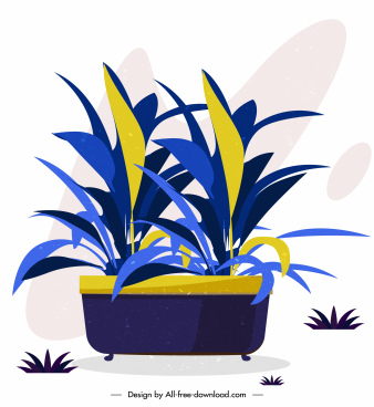 decorative plant icon colored classical sketch