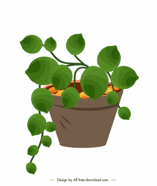 decorative plant pot icon fresh green leaves sketch