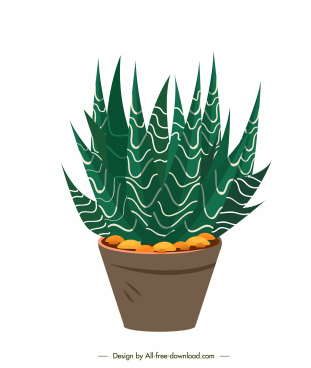 decorative plant pot icon fresh green tree sketch
