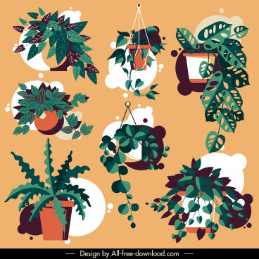 decorative plant pot icons colored classic design