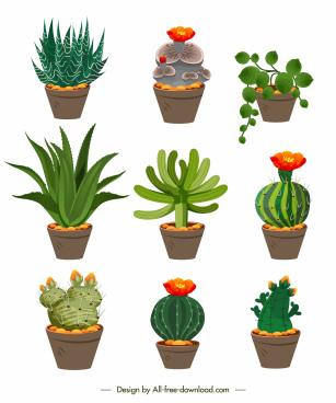 decorative plant pot icons colorful classic design