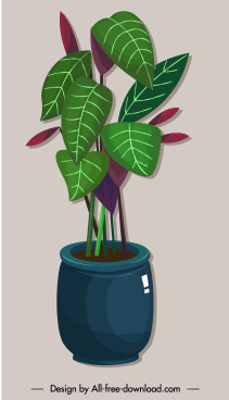 decorative plant pot painting shiny colored classic sketch