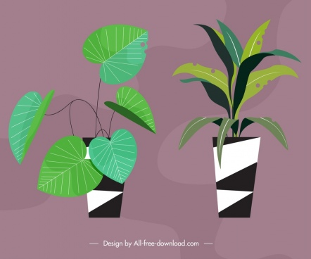 decorative plant pots icons colored classical design