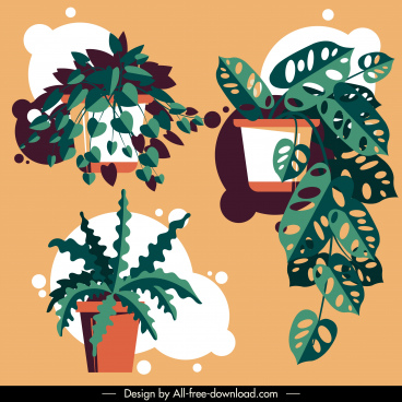 decorative plant pots icons colred classic leaves sketch