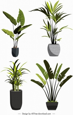 decorative plant pots icons fresh green leaves sketch