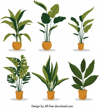 decorative plants icons collection tree leaf pot decor