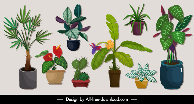 decorative plants icons tree pots sketch colorful classic