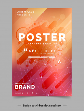 decorative poster template modern bright colored geometric decor