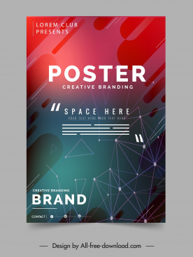 decorative poster template modern geometric connection sketch
