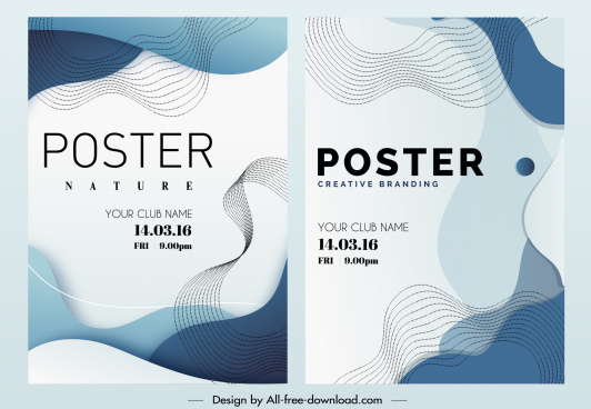 decorative poster templates abstract dynamic lines sketch