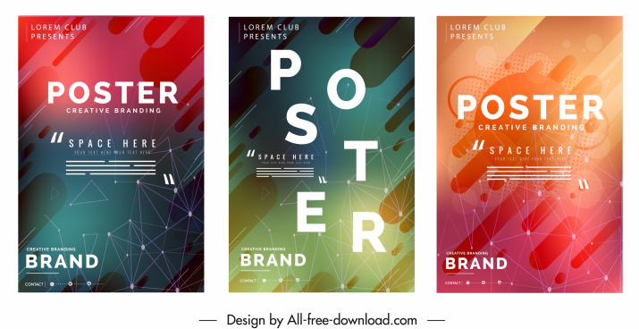 decorative posters templates colorful abstract technology decor