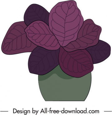decorative potted houseplant icon flat classical handdrawn