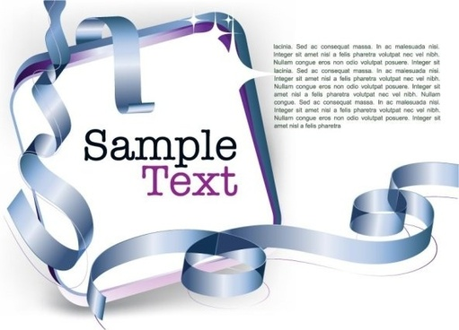 decorative ribbon design template vector 5 text
