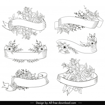 decorative ribbon templates black white floral handdrawn sketch