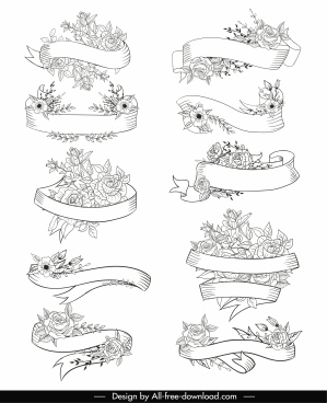 decorative ribbon templates floral decor handdrawn sketch