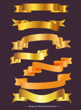 decorative ribbon templates shiny golden decor 3d sketch