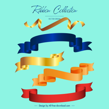 decorative ribbon templates shiny modern 3d curled design